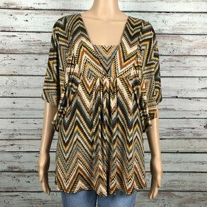 Boston Proper Tan Multicolor Chevron Stripe Shirt